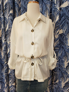 Contrast Stitch Blouse in White