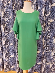 Open Shoulder Dress in Green