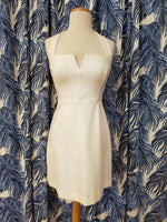 Load image into Gallery viewer, V Plunge Halter A-Line Dress in White