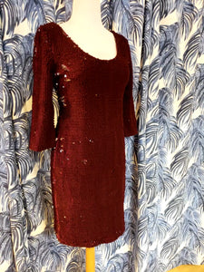 Casablanca Velvet Sequin Dress in Boysenberry