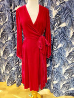 Load image into Gallery viewer, Velvet Luna Wrap Dress in Fuchsia