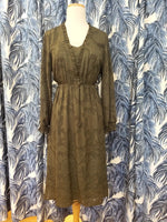 Load image into Gallery viewer, Delicate Burnout Midi Dress in Dark Olive