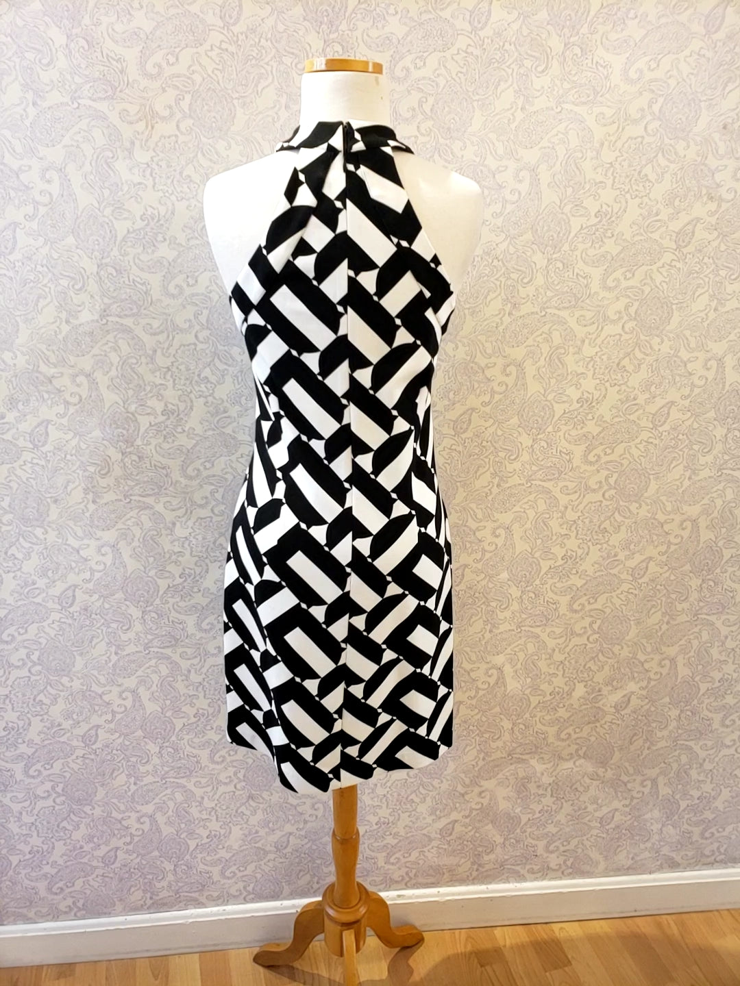 Fabiana Dress in Black/White Print