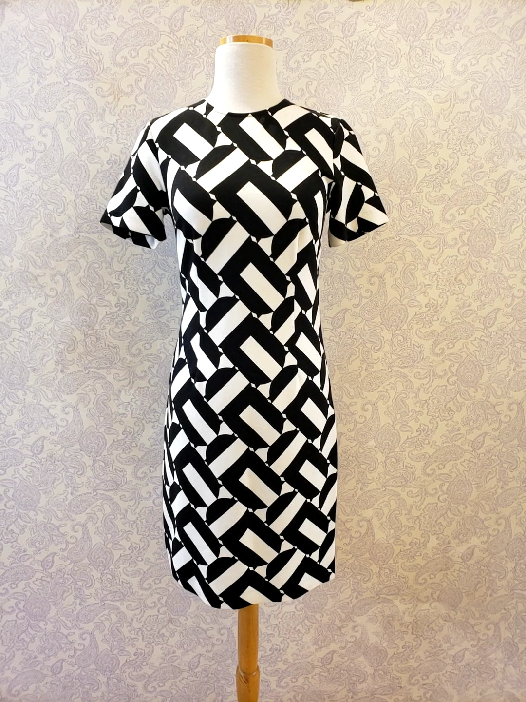 Zap Dress in Black and White Print