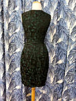 Load image into Gallery viewer, Floral Jacquard Sleeveless V-Neck Dress in Dark Green Combo