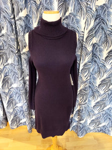 Cotton Blend Cold Shoulder Sweater Dress in Midnight Navy