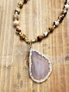 Coffee Agate Beads with Natural Agate Pendant Necklace
