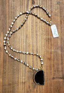 Agate on Calico Agate Beads Necklace