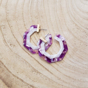 Octagon Open Cellulose Hoops in Purple