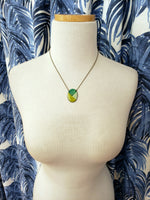 Load image into Gallery viewer, Oval Enamel and Patina Necklace with Antiqued Copper Chain in Chartreuse