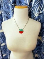 Load image into Gallery viewer, Enamel Necklace with Antiqued Copper Chain in Aqua/Red