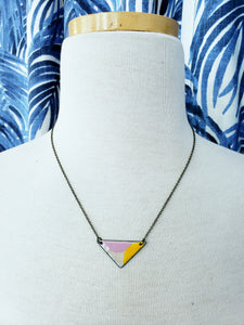 Modern Enamel Shape Necklace with Antiqued Copper Chain in Orange/Pink