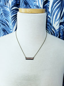 Enamel Rectangle Necklace with Antiqued Copper Chain in Black/Pink