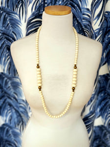 Long Wood and Brass Beaded Necklace in Ivory