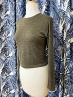 Load image into Gallery viewer, Long Sleeve Crop Top in Warm Grey