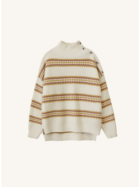 Nawelle Striped Sweater in Ivory