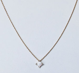Opal and Cubic Zirconia Gold Necklace