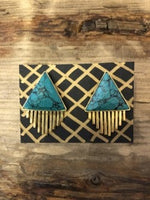Load image into Gallery viewer, Triangle Sun Earrings in Turquoise