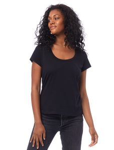 Organic Cotton Scoop T-Shirt in Black
