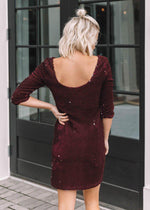 Load image into Gallery viewer, Casablanca Velvet Sequin Dress in Boysenberry