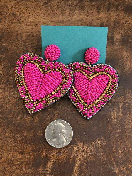 Beaded Large Heart in Fuchsia