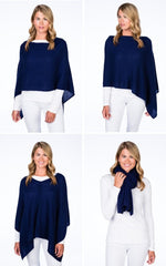 Load image into Gallery viewer, Cashmere Dress Topper/Poncho in Bluestone
