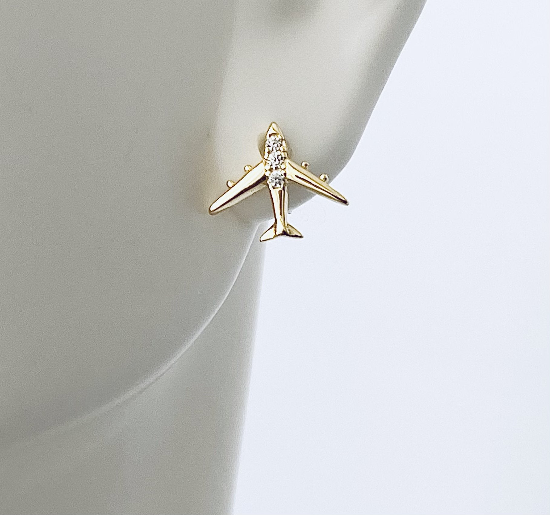 Gold Airplane Studs