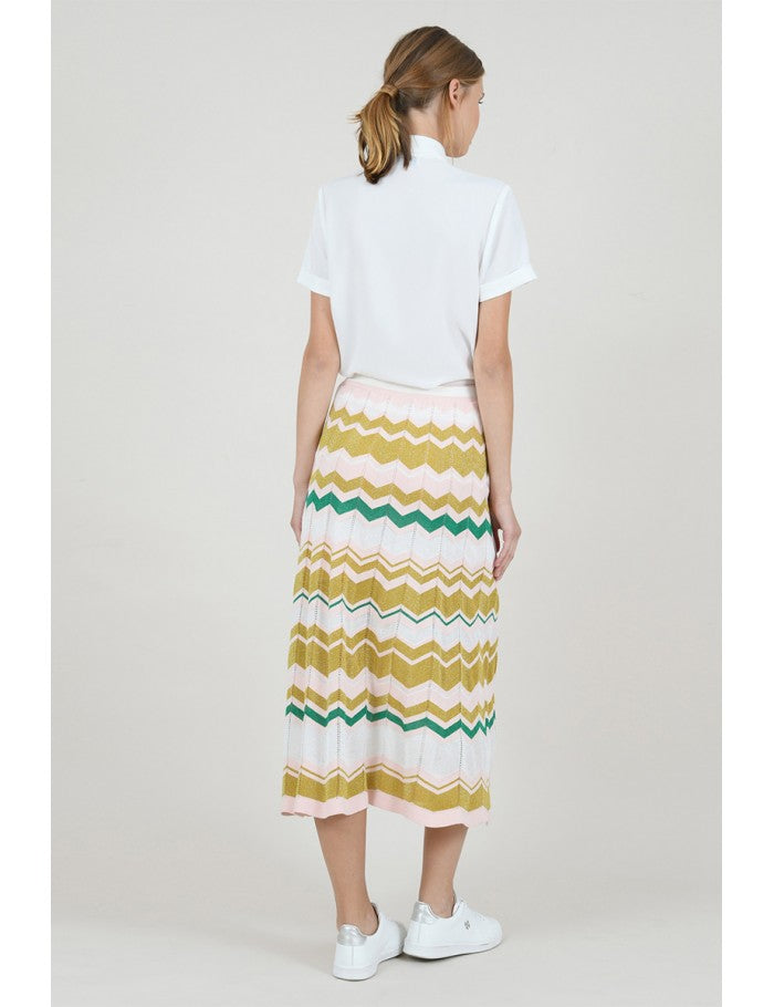 Chevron Print Knit Skirt in Green Multi