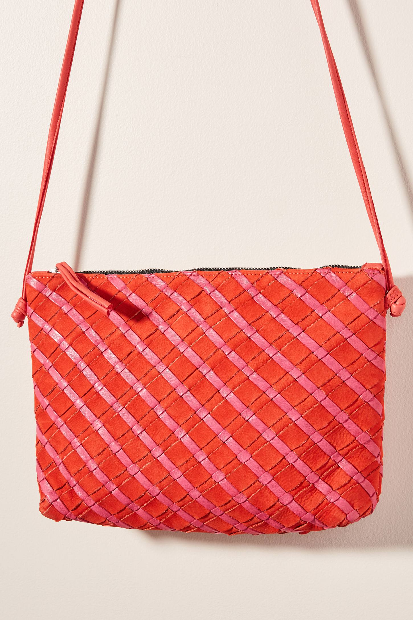 Woven Leather Crossbody Bag in Pink/Red Mix