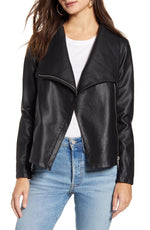 Load image into Gallery viewer, Up to Speed Faux Leather Moto Jacket in Black