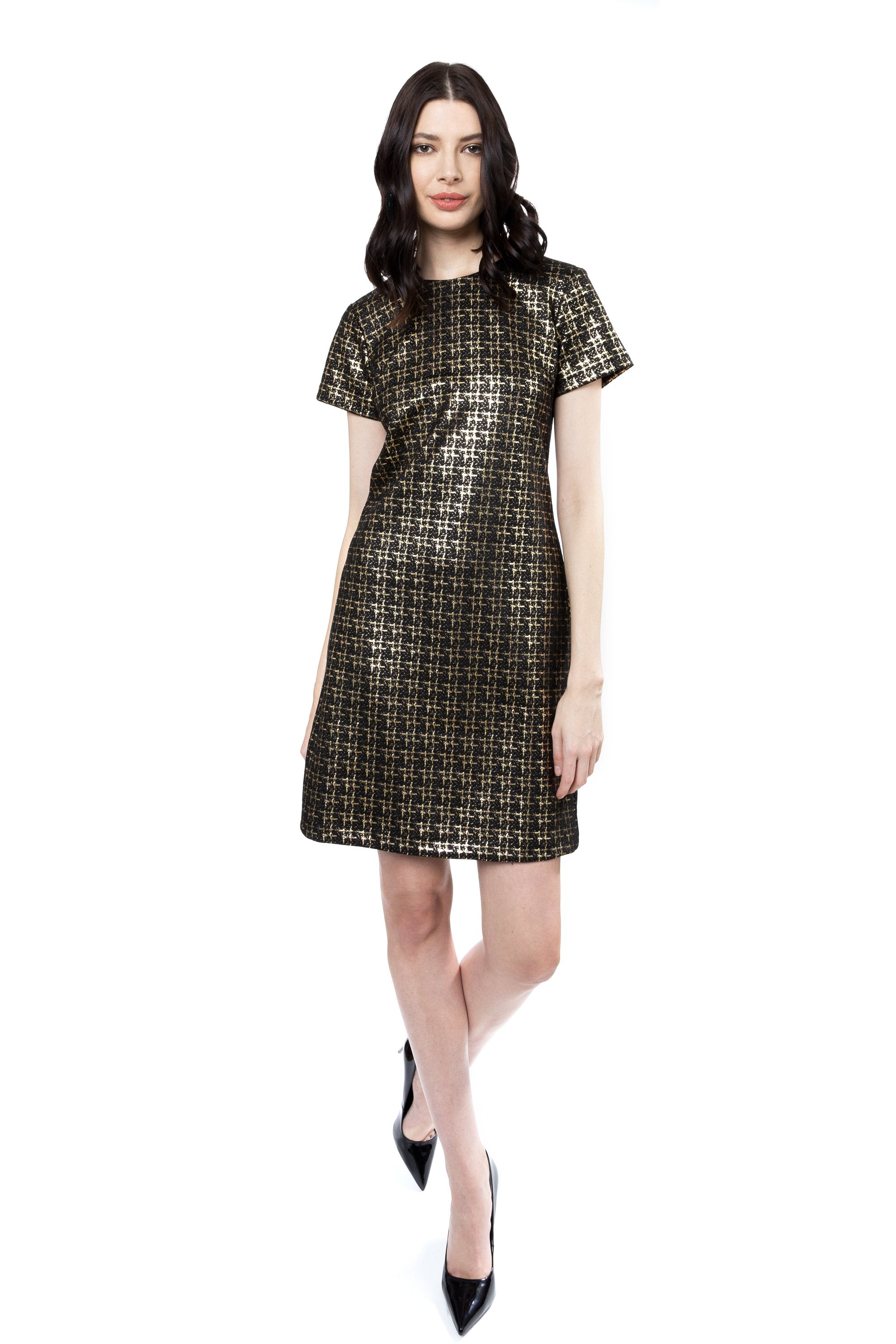 Speckle Sheath Dress in Black
