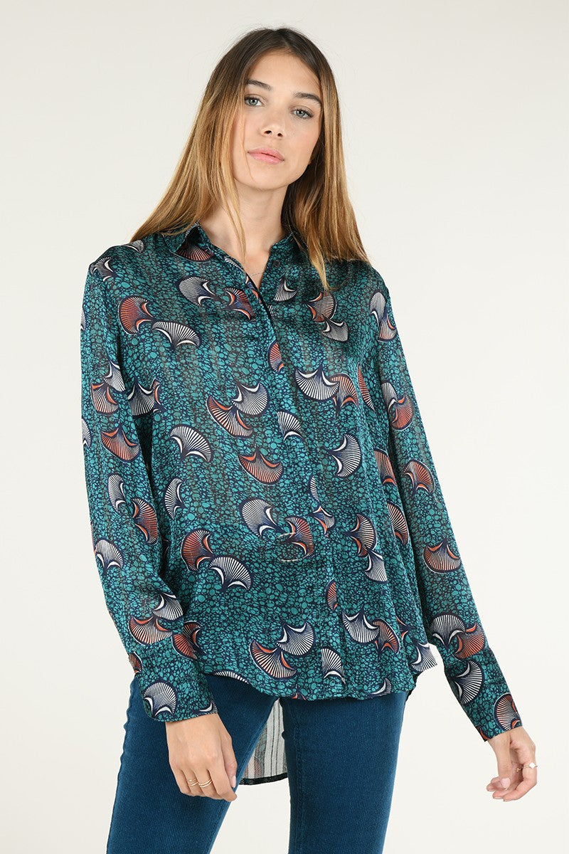 Fan Blouse in Batik Green