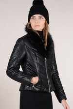 Load image into Gallery viewer, Faux Leather Padded Biker Jacket