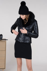 Faux Leather Padded Biker Jacket