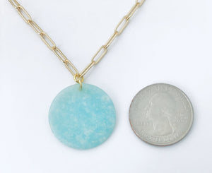 Double Clip Amazonite Gold Necklace