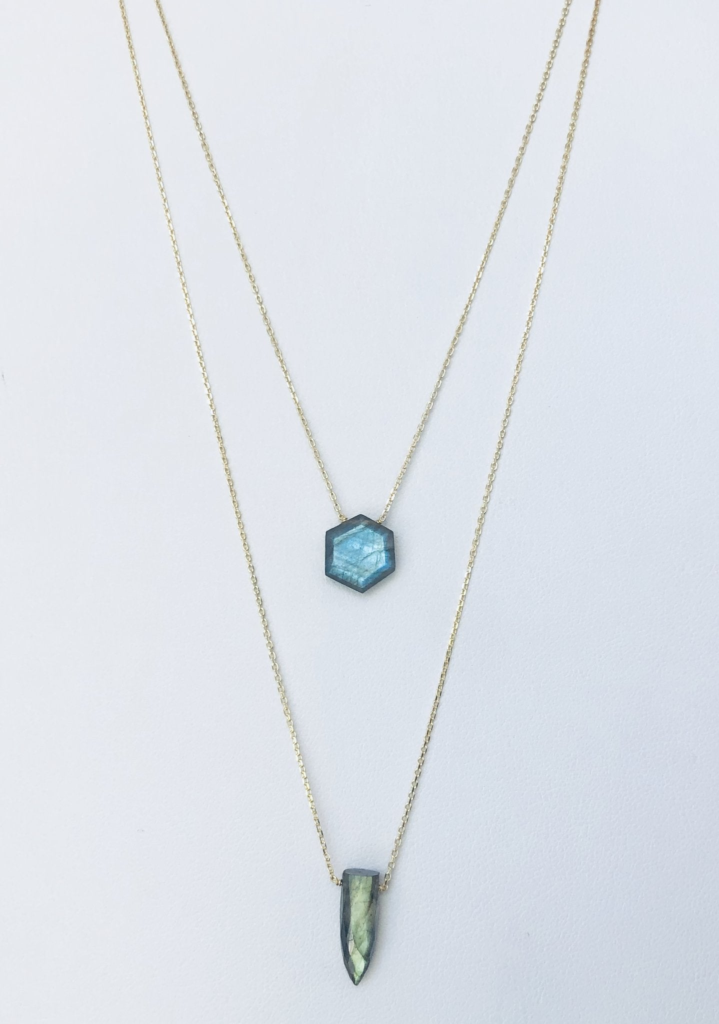 Double Chain Labradorite Gold Necklace