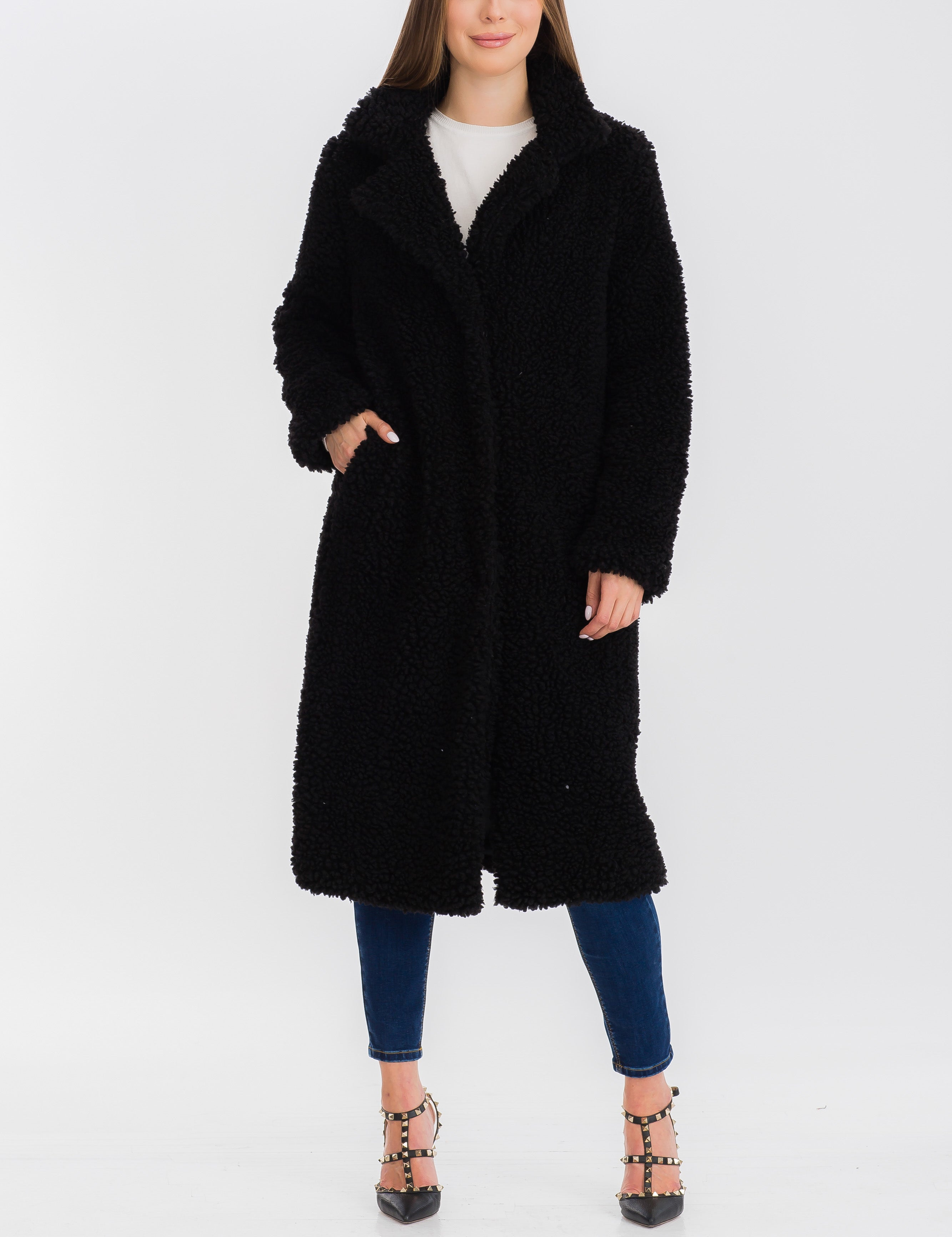 Fiona Sherpa Jacket in Black