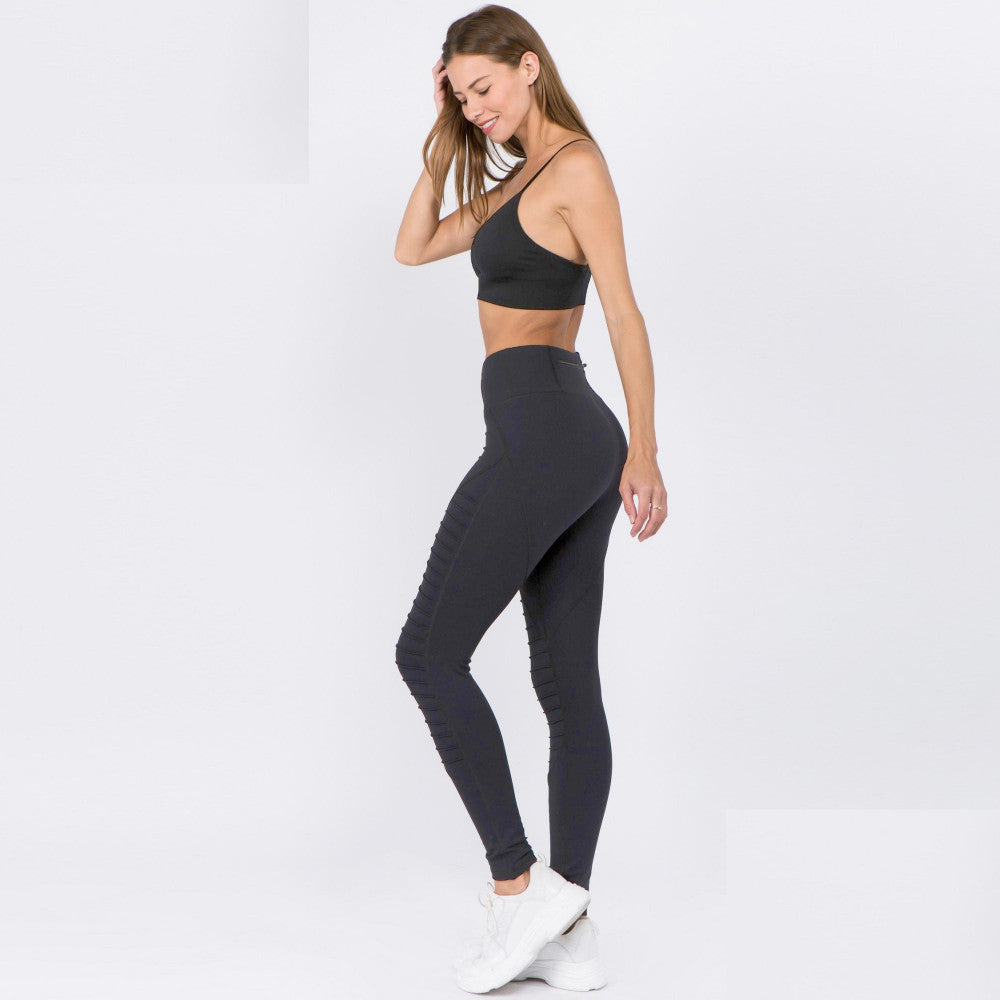 High Rise Active Moto Leggings in Black