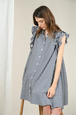 Load image into Gallery viewer, Gingham Smock Dress in Navy/White