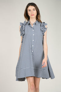 Gingham Smock Dress in Navy/White