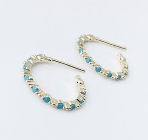 Gold and Turquoise Mini Hoops