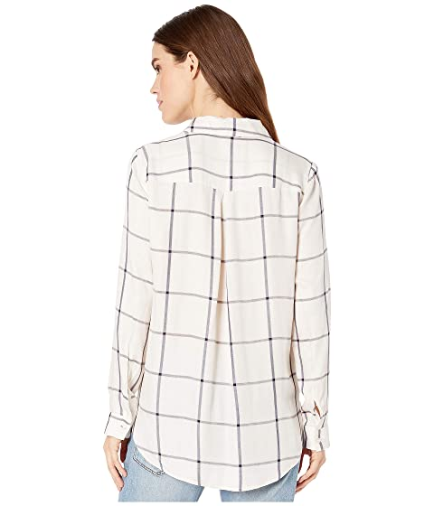 Wrap Hem Long Sleeve Plaid Shirt in White Multi