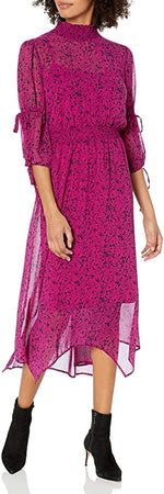 Load image into Gallery viewer, Chiffon Midi Dress in Raspberry