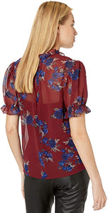 Rhythm & Blues Floral Top in Mulberry
