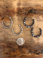 Load image into Gallery viewer, Fresh Water Pearl Hoops in Light Grey