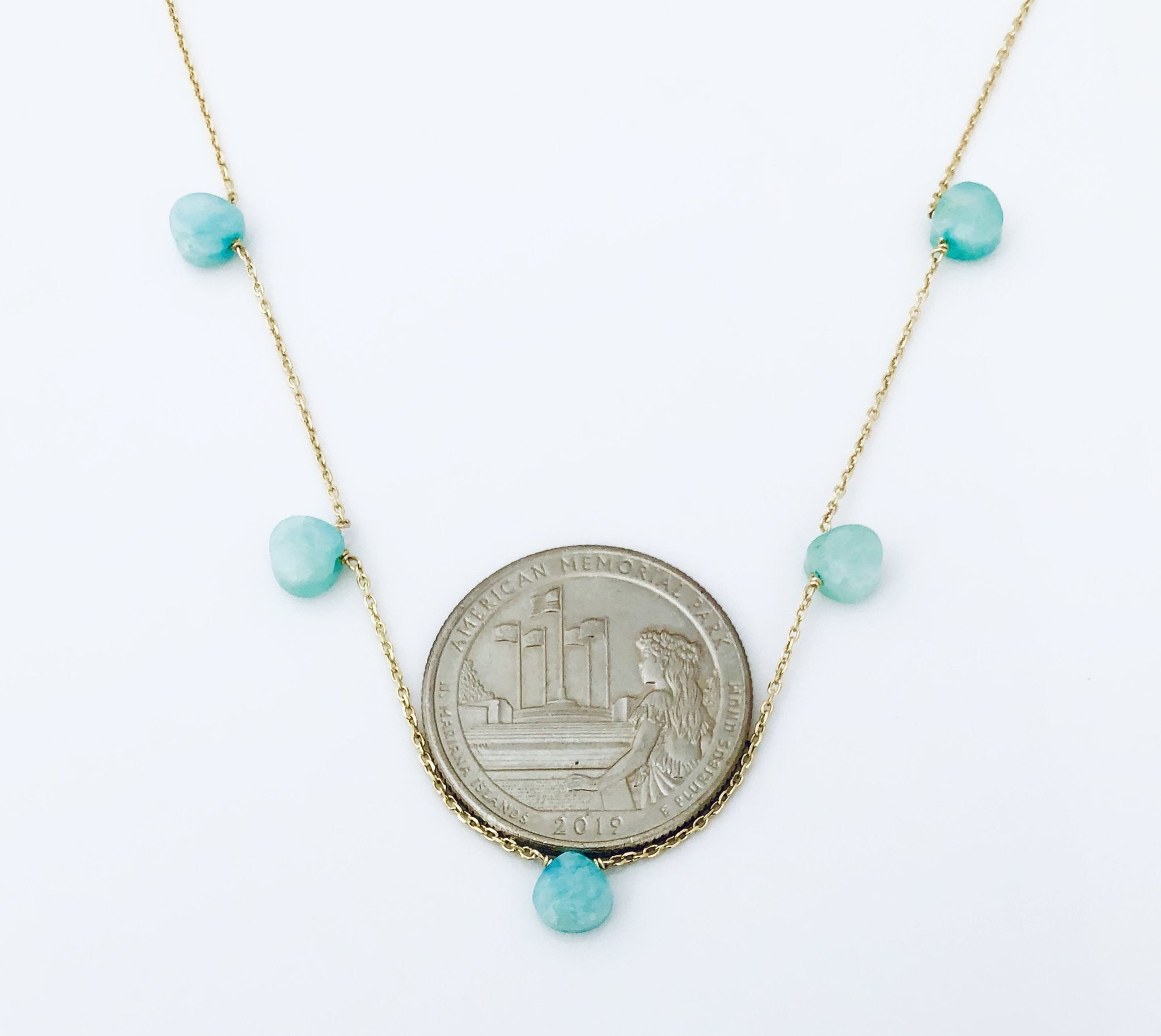 Everyother Stone Amazonite Gold Necklace