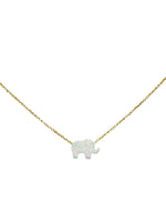 Load image into Gallery viewer, Elephant Necklace in White Opal