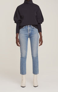 Extended Rib Turtleneck Sweatshirt in Black