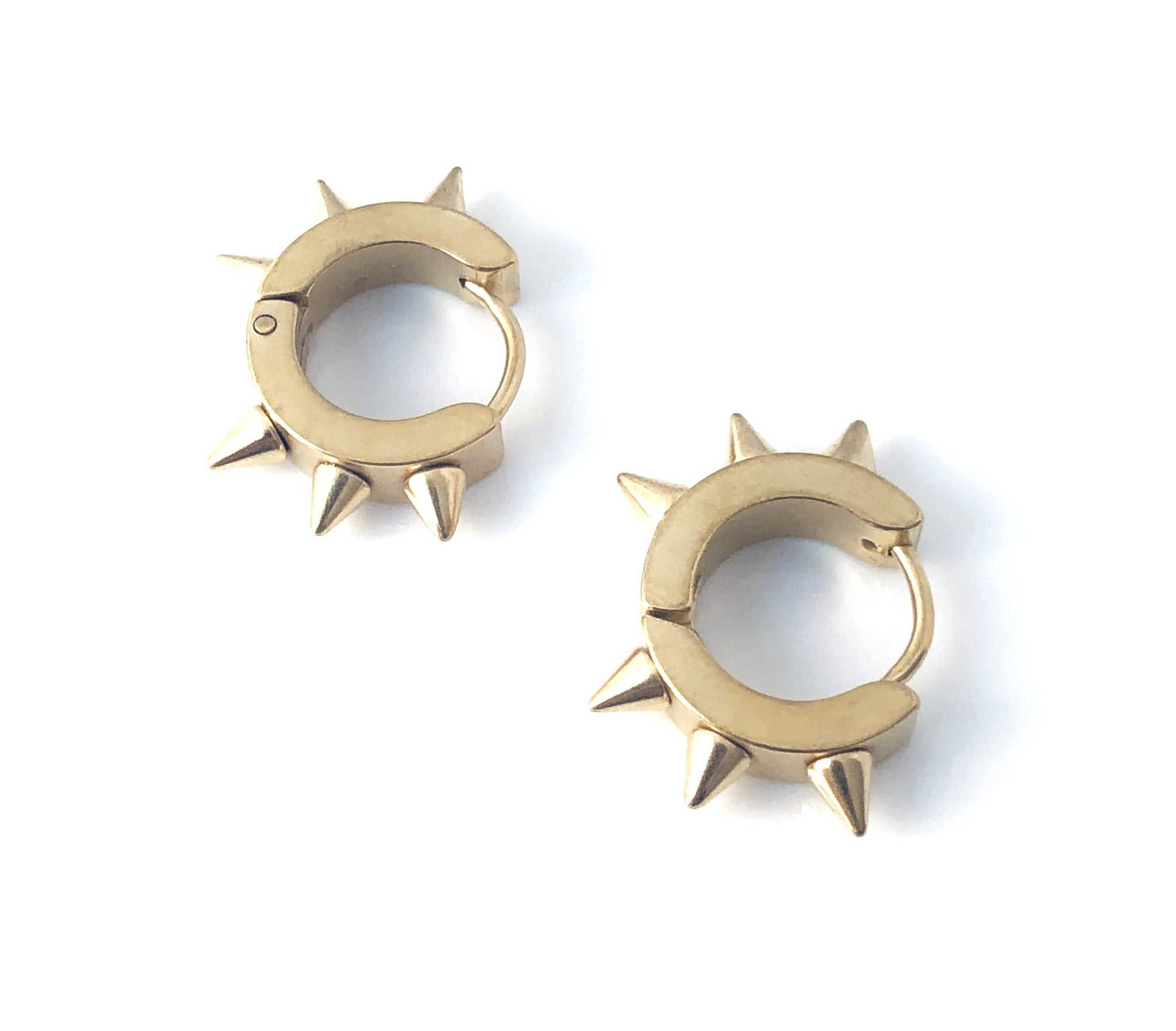 Steel Spike Huggie Gold Earrings