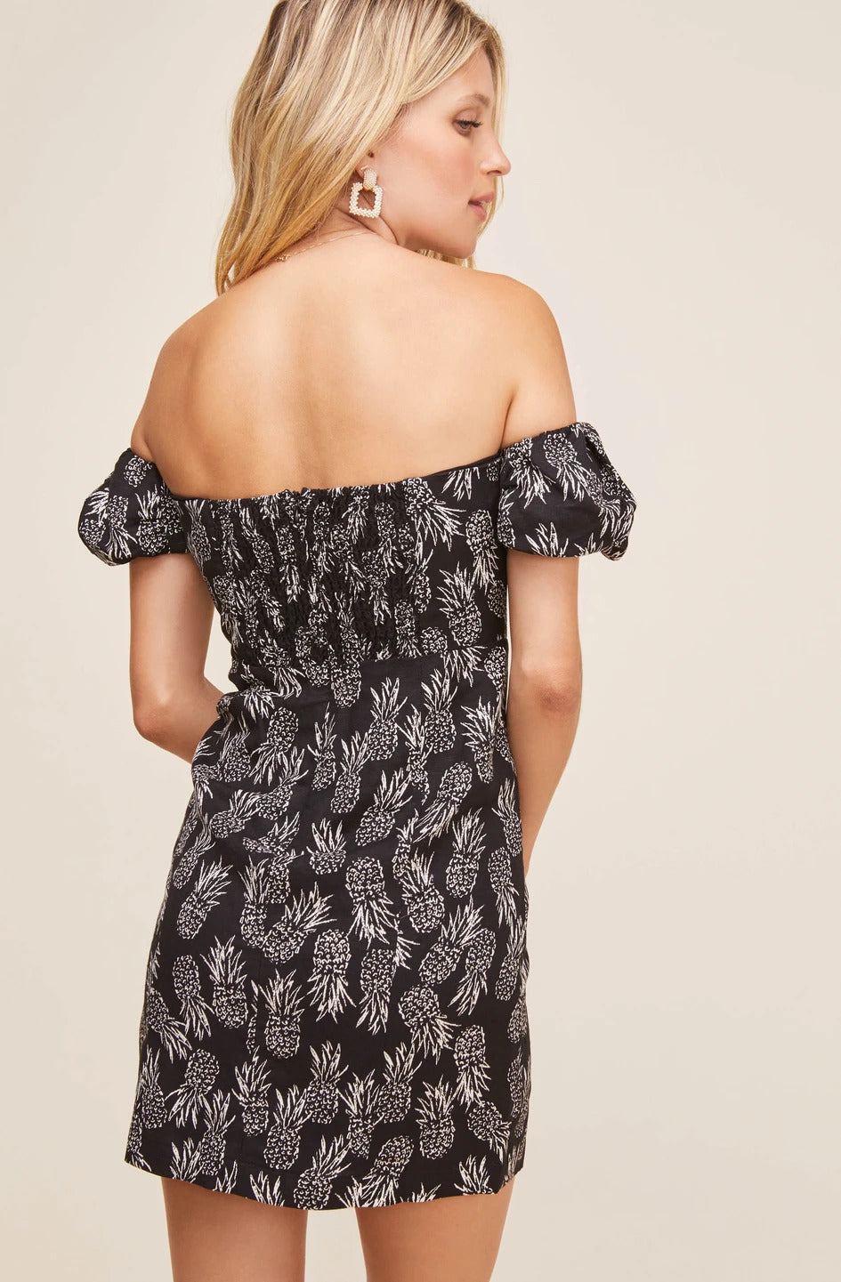 Raina Off Shoulder Dress in Pineapple Print